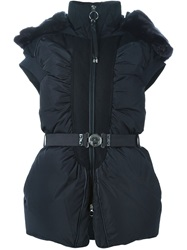 High Padded Hooded Vest Blue