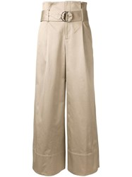Le Ciel Bleu Belted High Waisted Trousers Brown