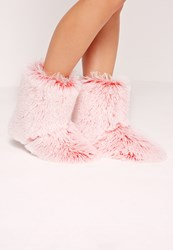 Missguided Fluffy Slipper Boot Pink Pink