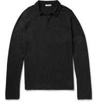 James Perse Long Sleeved Supima Cotton Polo Shirt Black