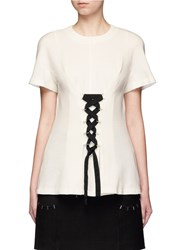 Proenza Schouler Lace Up Double Faced Wool Blend Jersey Top White