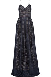 Catherine Deane Fawn Pleated Embroidered Satin And Silk Maxi Dress Midnight Blue