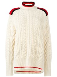 Isabel Marant Turtleneck Cable Knit Jumper Nude And Neutrals