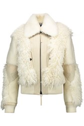 Just Cavalli Paneled Shearling Calf Hair And Leather Coat Ivory