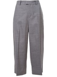 Cityshop 'Tropical Gaucho' Wide Leg Pleated Cropped Trousers Grey