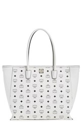 Mcm 'Visetos' Coated Canvas Shopper White