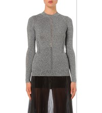 Christopher Kane Open Embroidered Metallic Knit Jumper Silver