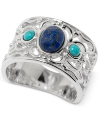 Macy's Manufactured Turquoise And Dyed Lapis Filigree Ring In Sterling Silver 2 3 4 Ct. T.W.