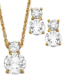 Swarovski Jewelry Set 22K Gold Plated Double Round Cut Crystal Pendant Necklace And Stud Earrings