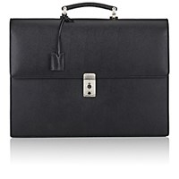 Barneys New York Men's Gusseted Briefcase Black Blue Black Blue