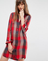 Levi's Check Shirt Dress Sumac Tango Red Multi