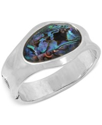 Robert Lee Morris Soho Silver Tone Abalone Look Hinged Bangle Bracelet