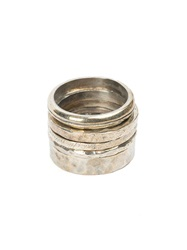 Tobias Wistisen Textured Ring Set Metallic