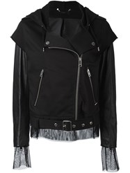 Diesel Hooded Biker Jacket Black
