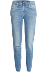 7 For All Mankind Distressed Cropped Mid Rise Jeans