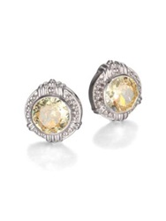 Judith Ripka Canary Crystal And Sterling Silver Button Earrings Yellow Silver