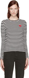 Comme Des Garcons Black And White Striped Heart Patch T Shirt