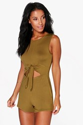 Boohoo Tie Front Sleeveless Playsuit Olive