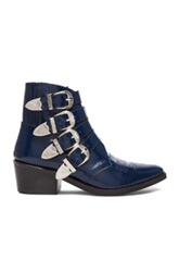 Toga Archives Leather Buckle Booties In Blue