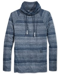 American Rag Men's Funnel Neck Stripe Shirt Only At Macy's Basic Navy