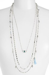 Women's Lonna And Lilly Layered Necklace Silver Blue Evil Eye