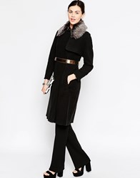 Antipodium Perpetua Belted Trench With Faux Fur Collar Black