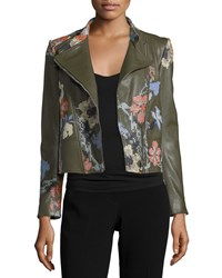 Alexander Mcqueen Floral Embroidered Leather Moto Jacket Olive Green Women's Size 16