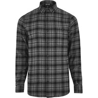 Only And Sons River Island Mens Grey Casual Check Shirt