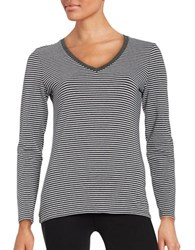 Lord And Taylor Striped Long Sleeve Tee Graphite Heather