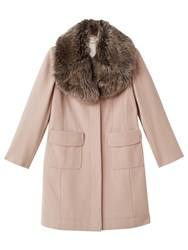 Precis Petite Stacy Faux Fur Collar Coat Light Neutral