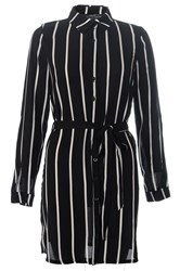 Quiz Black Crepe Stripe Belt Shirt Dress