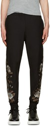 Alexander Mcqueen Black Floral Embroidered Lounge Pants