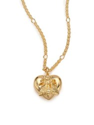 Gucci 18K Yellow Gold Bee Heart Pendant Necklace