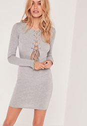 Missguided Lace Up Open Front Bodycon Dress Grey Grey
