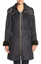 Via Spiga Fitted Faux Shearling Coat Black