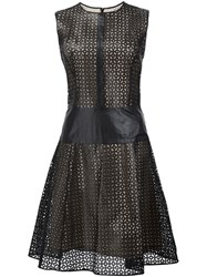 Carolina Herrera Perforated Leather Dress Black