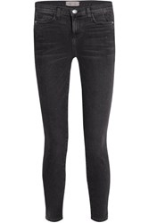 Current Elliott The Stiletto Distressed Mid Rise Skinny Jeans Charcoal