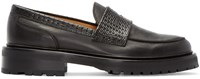 Carven Black Woven Leather Penny Loafers