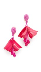 Oscar De La Renta Mini Impatiens Flower Drop Clip On Earrings Hot Pink