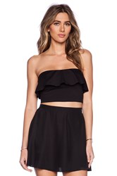 Susana Monaco Ruffle Tube Crop Top Black