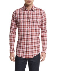 Tom Ford Large Plaid Tailored Fit Sport Shirt Red White