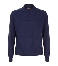 Canali Waffle Knit Polo Shirt Male Blue