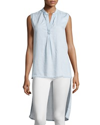 Cirana Washed Denim Sleeveless Blouse Chambray