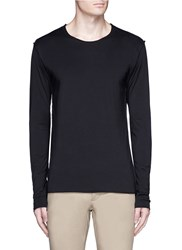 Attachment Double Layer Long Sleeve T Shirt Black