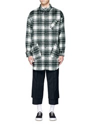 The World Is Your Oyster Check Plaid Long Fleece Shirt Green Multi Colour