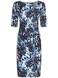 Fenn Wright Manson Athena Animal Print Dress Blue Multi