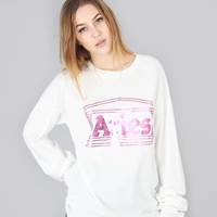 Aries Pink Foiled Logo L S T Shirt White