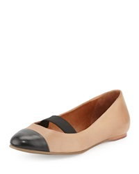 Bernardo Samantha Cap Toe Leather Flat Sand