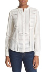 La Vie By Rebecca Taylor Women's Lace Inset Band Collar Cotton Shirt