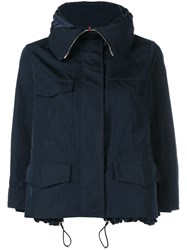 Moncler Short Hooded Parka With Pockets Navy Blue